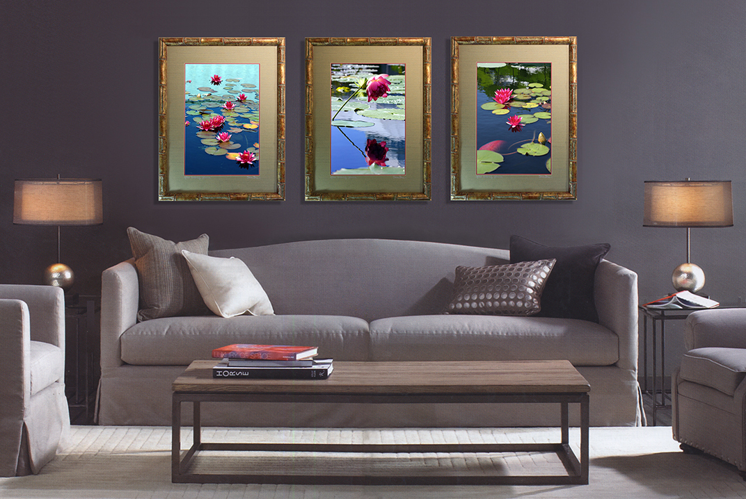 WaterLilies in Bamboo frames